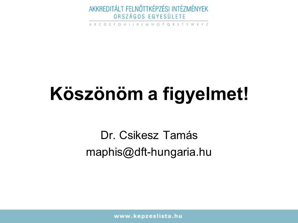 Köszönöm a figyelmet! Dr. Csikesz Tamás maphis@dft-hungaria.hu