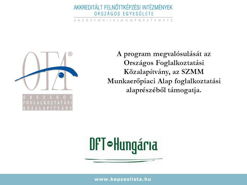 A program megvalósulását az Országos Foglalkoztatási Közalapítvány, az SZMM Munkaerőpiaci Alap foglalkoztatási alaprészéből támogatja.