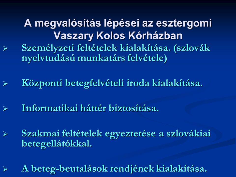 A megvalósítás lépései az esztergomi Vaszary Kolos Kórházban  Személyzeti feltételek kialakítása. (szlovák nyelvtudású munkatárs felvétele)  Központ