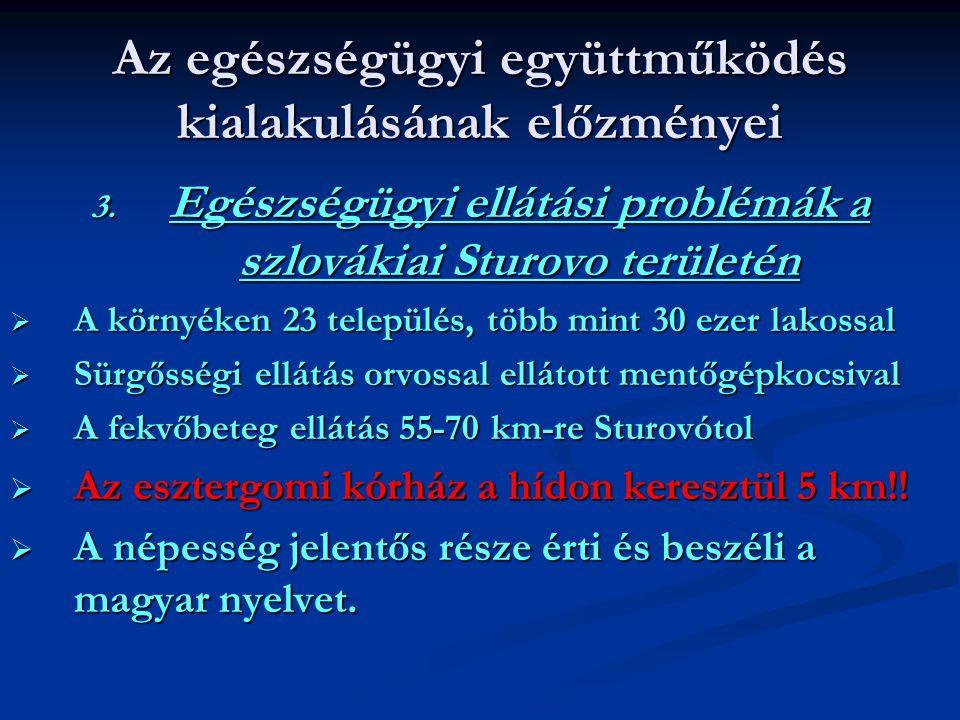 Az egészségügyi együttműködés kialakulásának előzményei 3. Egészségügyi ellátási problémák a szlovákiai Sturovo területén  A környéken 23 település,
