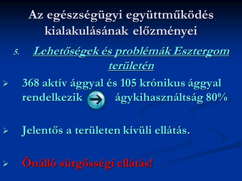 Az egészségügyi együttműködés kialakulásának előzményei 5. Lehetőségek és problémák Esztergom területén  368 aktív ággyal és 105 krónikus ággyal rend