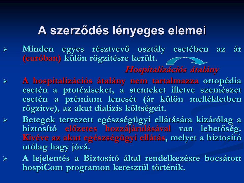 A szerződés lényeges elemei  Minden egyes résztvevő osztály esetében az ár (euróban) külön rögzítésre került. Hospitalizációs átalány  A hospitalizá