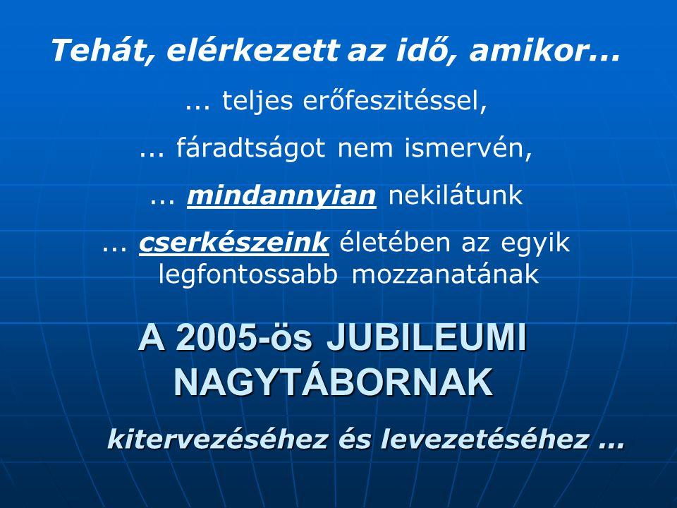 A 2005-ös JUBILEUMI NAGYTÁBORNAK Tehát, elérkezett az idő, amikor......