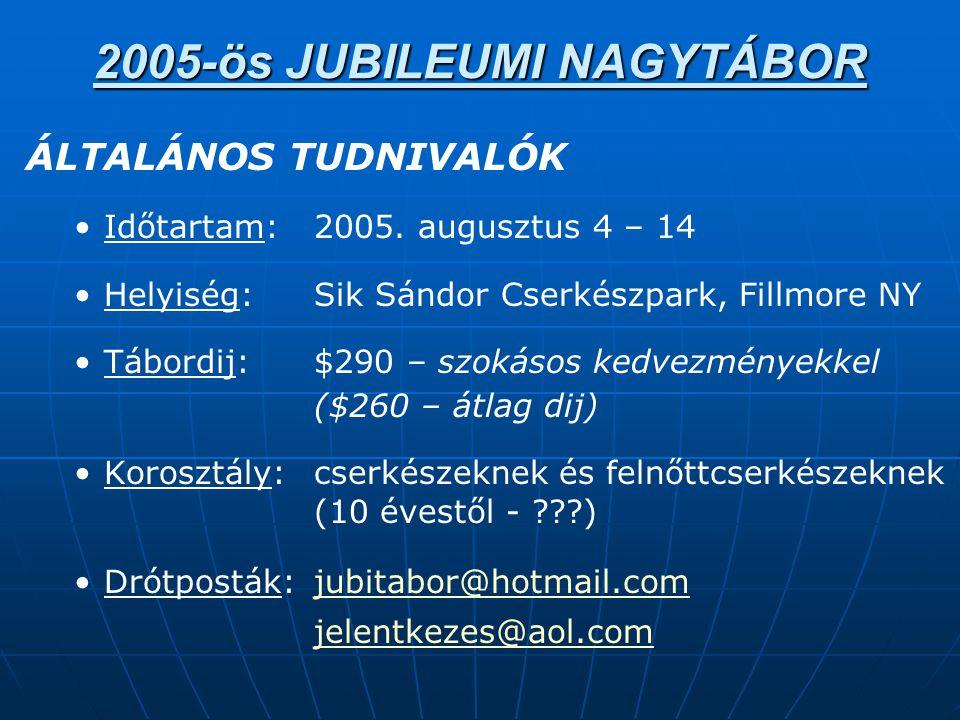 2005-ös JUBILEUMI NAGYTÁBOR ÁLTALÁNOS TUDNIVALÓK • •Időtartam:2005.