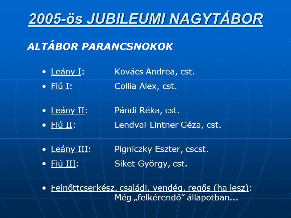 2005-ös JUBILEUMI NAGYTÁBOR ALTÁBOR PARANCSNOKOK • •Leány I:Kovács Andrea, cst.