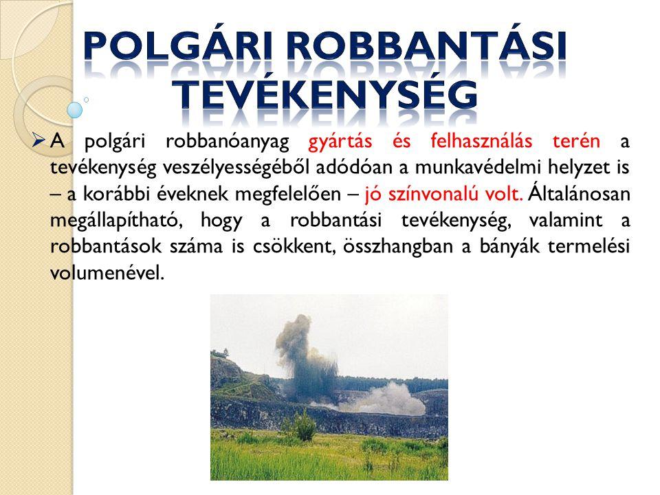  A polgári robbanóanyag gyártás és felhasználás terén a tevékenység veszélyességéből adódóan a munkavédelmi helyzet is – a korábbi éveknek megfelelően – jó színvonalú volt.