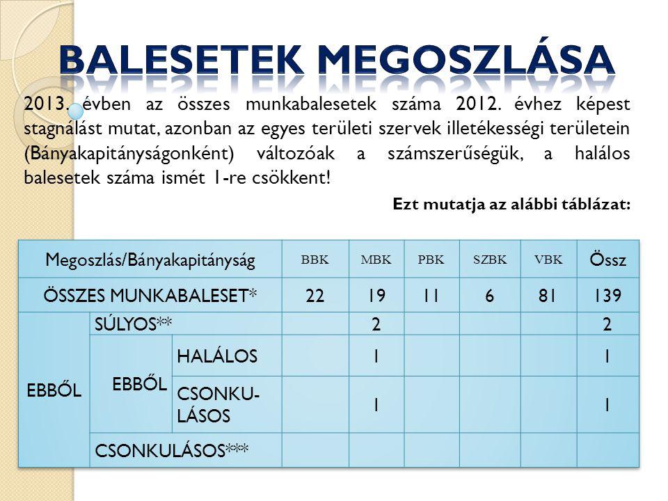 2013.évben az összes munkabalesetek száma 2012.