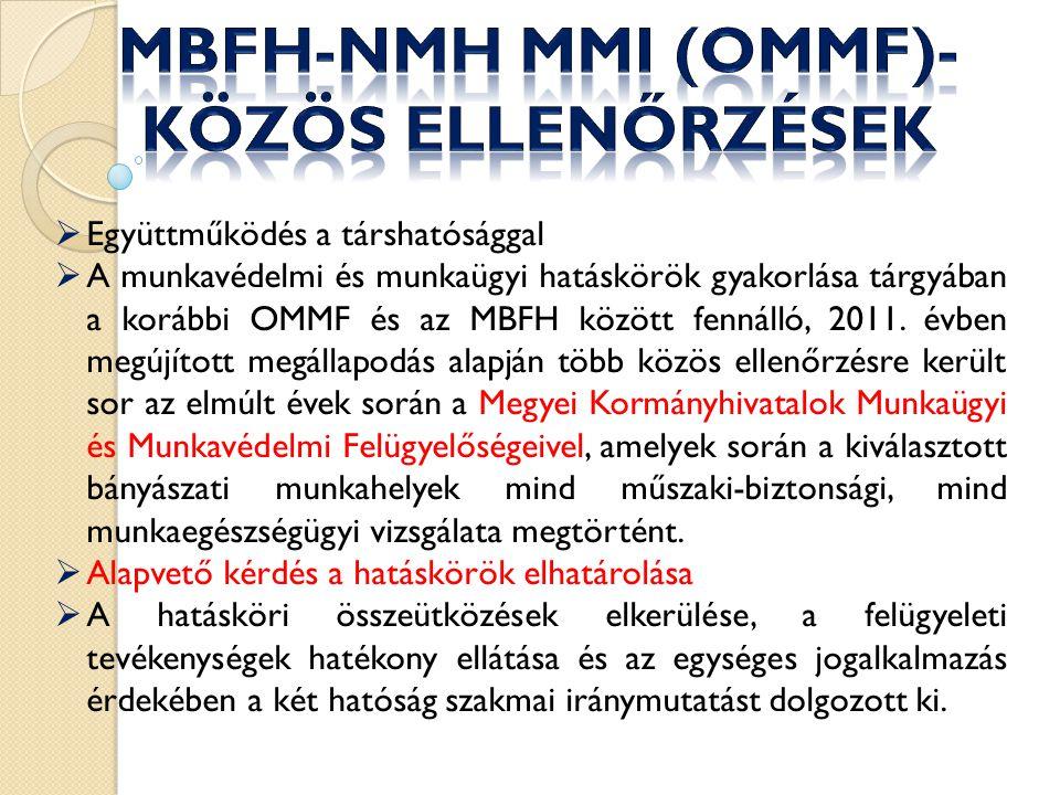  Együttműködés a társhatósággal  A munkavédelmi és munkaügyi hatáskörök gyakorlása tárgyában a korábbi OMMF és az MBFH között fennálló, 2011.