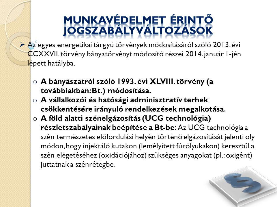  Kapcsolódó rendeleti szintű módosítások: o A bányászattal és távhőszolgáltatással összefüggő kormányrendeletek módosításáról szóló 559/2013.