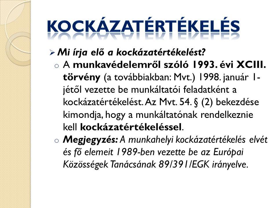  Mi írja elő a kockázatértékelést.o A munkavédelemről szóló 1993.