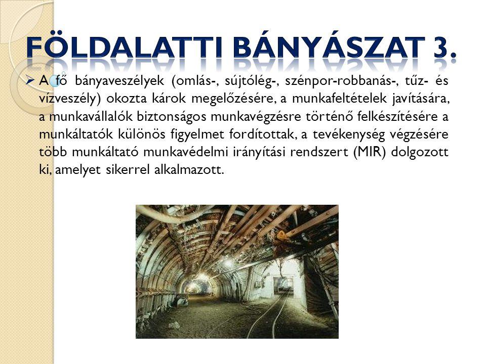 A Magyar Bányászati és Földtani Hivatal (MBFH) Munkavédelmi Információs Szolgálata (a továbbiakban: Szolgálat) 2013.