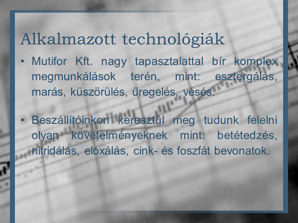 Alkalmazott technológiák •Mutifor Kft. nagy tapasztalattal bír komplex megmunkálások terén, mint: esztergálás, marás, küszörülés, üregelés, vésés. •Be