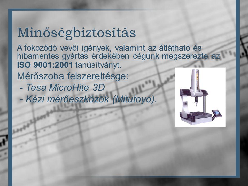 Minőségbiztosítás A fokozódó vevői igények, valamint az átlátható és hibamentes gyártás érdekében cégünk megszerezte az ISO 9001:2001 tanúsítványt.