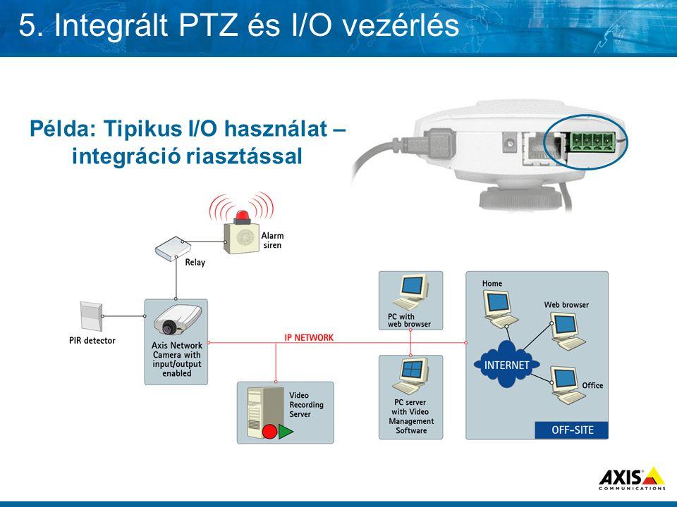 5. Integrált PTZ és I/O vezérlés Példa: Tipikus I/O használat – integráció riasztással
