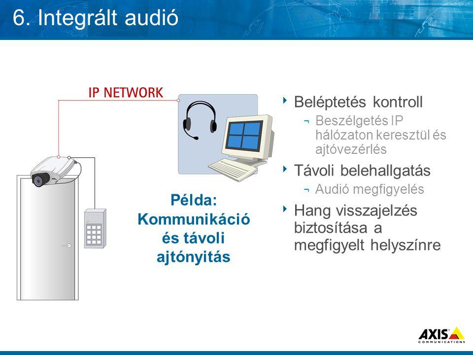 6. Integrált audió  Beléptetés kontroll ¬ Beszélgetés IP hálózaton keresztül és ajtóvezérlés  Távoli belehallgatás ¬ Audió megfigyelés  Hang vissza