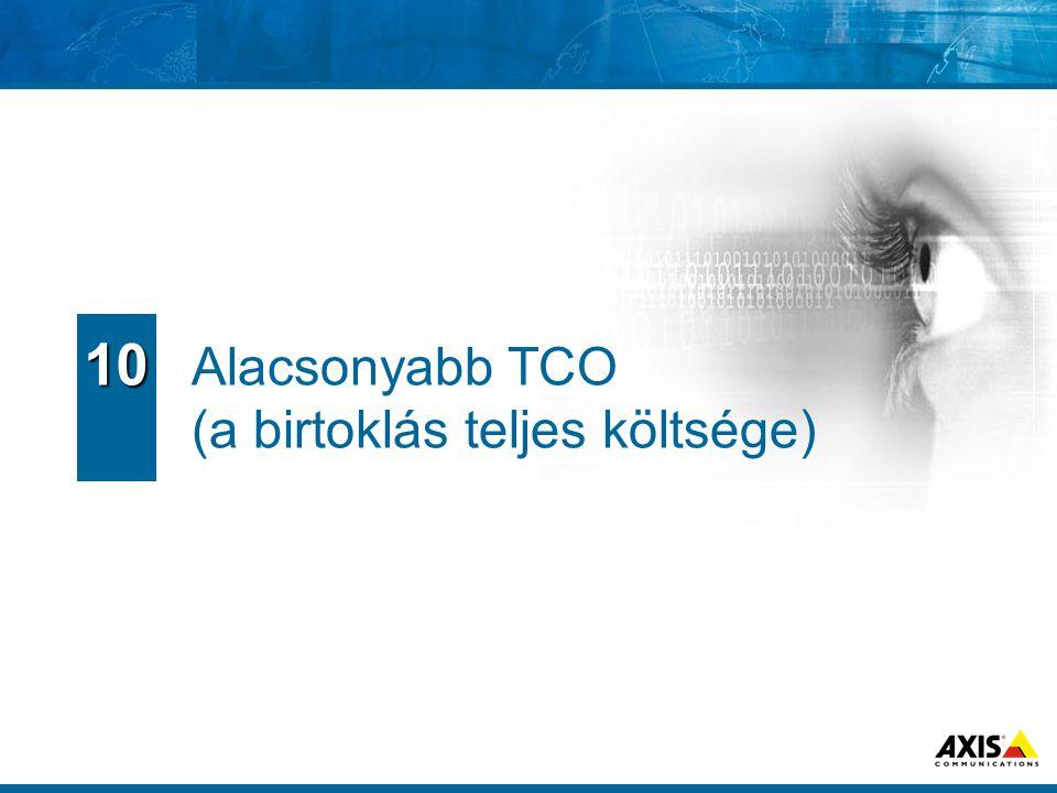 Alacsonyabb TCO (a birtoklás teljes költsége) 10