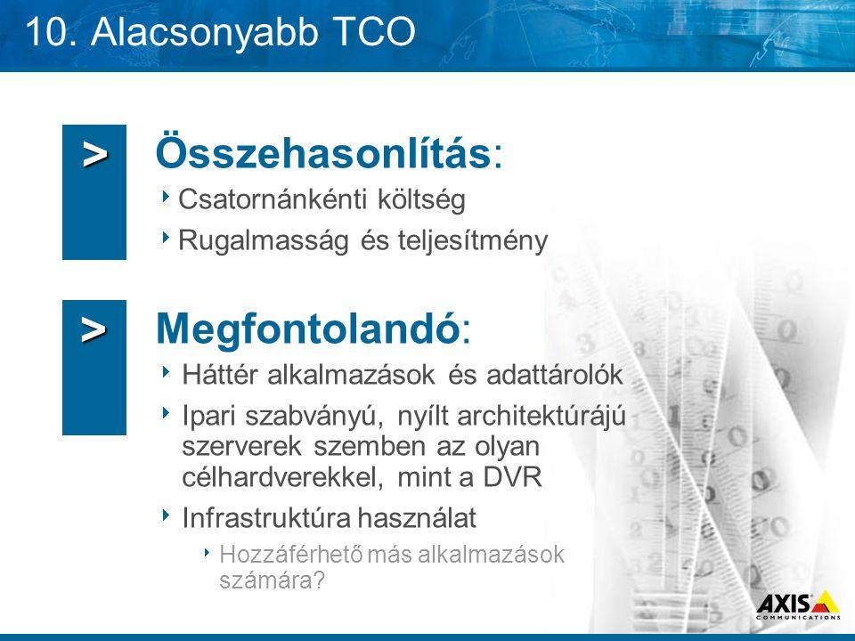 10. Alacsonyabb TCO Összehasonlítás:  Csatornánkénti költség  Rugalmasság és teljesítmény Megfontolandó:  Háttér alkalmazások és adattárolók  Ipar