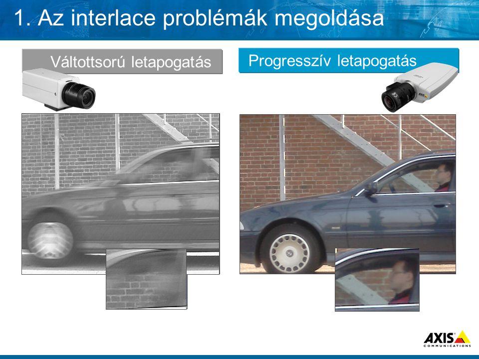 1. Az interlace problémák megoldása Váltottsorú letapogatás Progresszív letapogatás