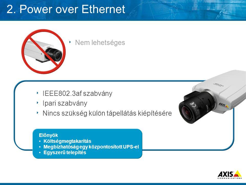  IEEE802.3af szabvány  Ipari szabvány  Nincs szükség külön tápellátás kiépítésére Előnyök •Költségmegtakarítás •Megbízhatóság egy központosított UP