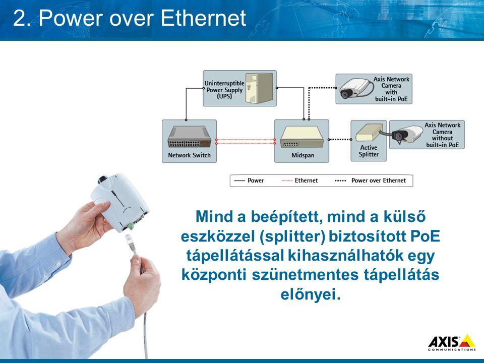 2. Power over Ethernet Mind a beépített, mind a külső eszközzel (splitter) biztosított PoE tápellátással kihasználhatók egy központi szünetmentes tápe