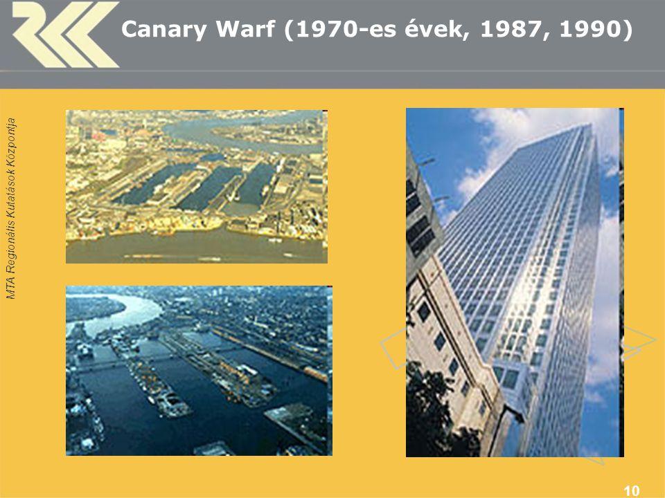 MTA Regionális Kutatások Központja 10 Canary Warf (1970-es évek, 1987, 1990)