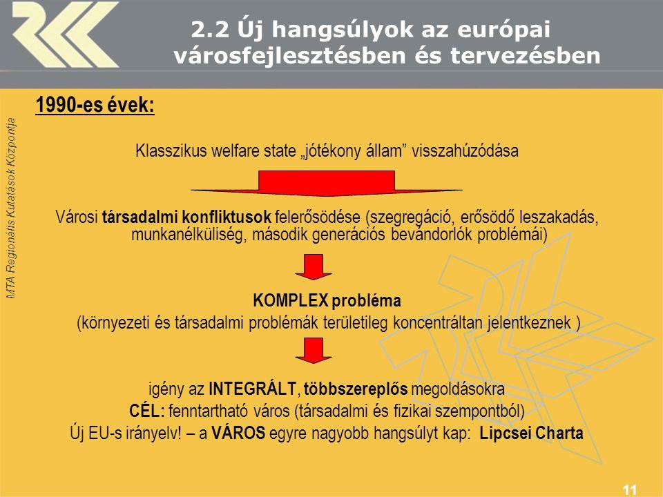 """MTA Regionális Kutatások Központja 11 2.2 Új hangsúlyok az európai városfejlesztésben és tervezésben 1990-es évek: Klasszikus welfare state """"jótékony állam visszahúzódása Városi társadalmi konfliktusok felerősödése (szegregáció, erősödő leszakadás, munkanélküliség, második generációs bevándorlók problémái) KOMPLEX probléma (környezeti és társadalmi problémák területileg koncentráltan jelentkeznek ) igény az INTEGRÁLT, többszereplős megoldásokra CÉL: fenntartható város (társadalmi és fizikai szempontból) Új EU-s irányelv."""