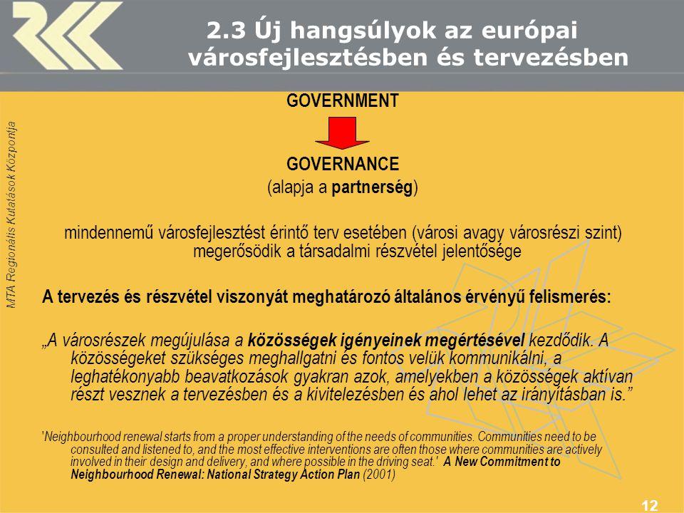 MTA Regionális Kutatások Központja 12 2.3 Új hangsúlyok az európai városfejlesztésben és tervezésben GOVERNMENT GOVERNANCE (alapja a partnerség ) mind