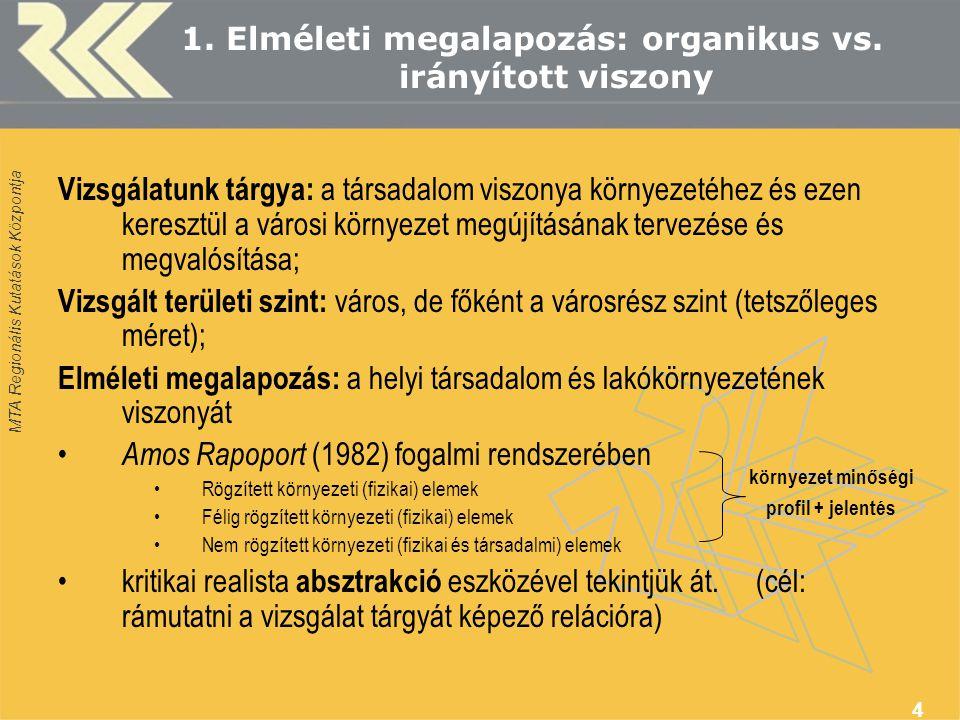 MTA Regionális Kutatások Központja 4 1. Elméleti megalapozás: organikus vs.