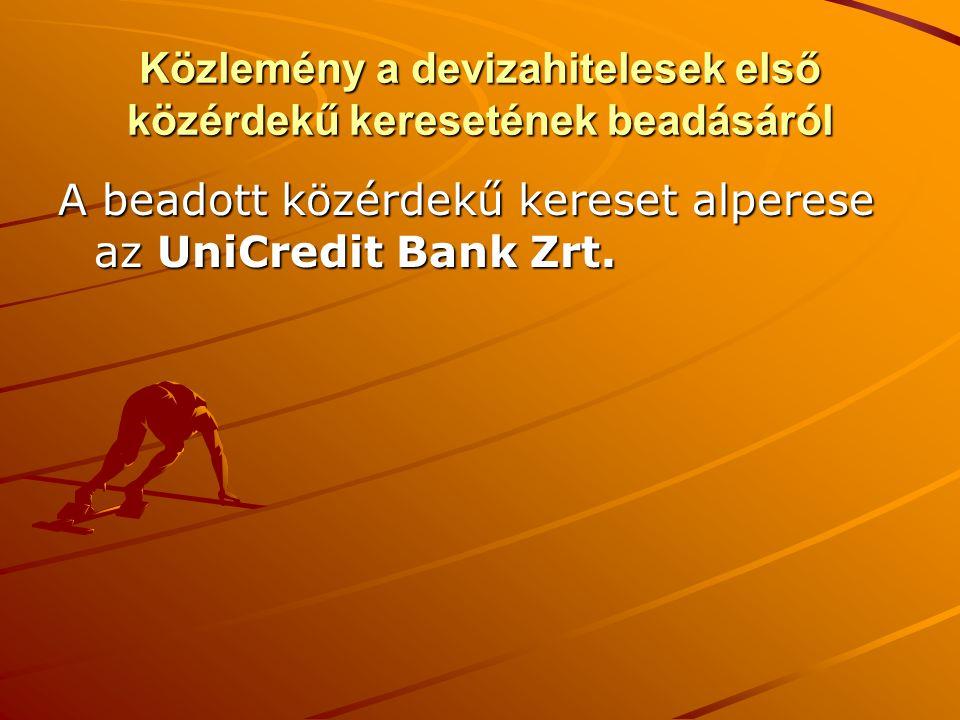 Közlemény a devizahitelesek első közérdekű keresetének beadásáról A beadott közérdekű kereset alperese az UniCredit Bank Zrt.