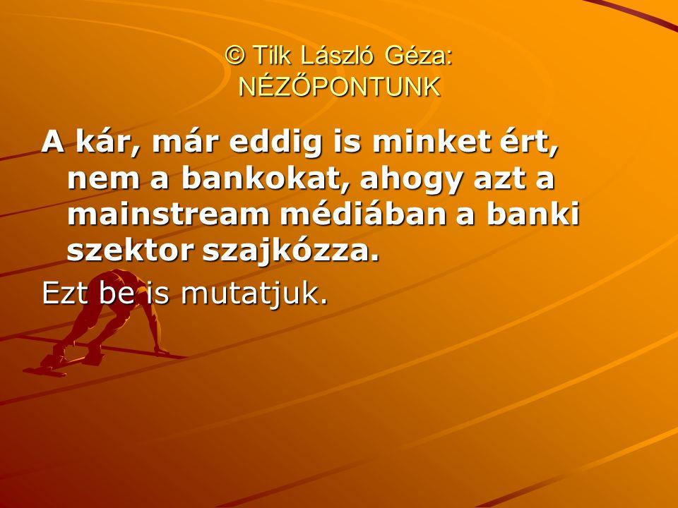 © Tilk László Géza: NÉZŐPONTUNK A kár, már eddig is minket ért, nem a bankokat, ahogy azt a mainstream médiában a banki szektor szajkózza. Ezt be is m