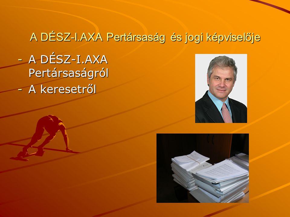 A DÉSZ-I.AXA Pertársaság és jogi képviselője -A DÉSZ-I.AXA Pertársaságról -A keresetről