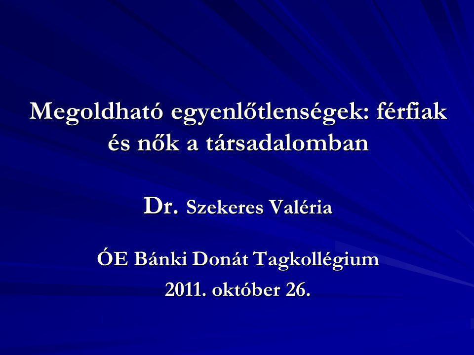 Megoldható egyenlőtlenségek: férfiak és nők a társadalomban Dr. Szekeres Valéria ÓE Bánki Donát Tagkollégium 2011. október 26.