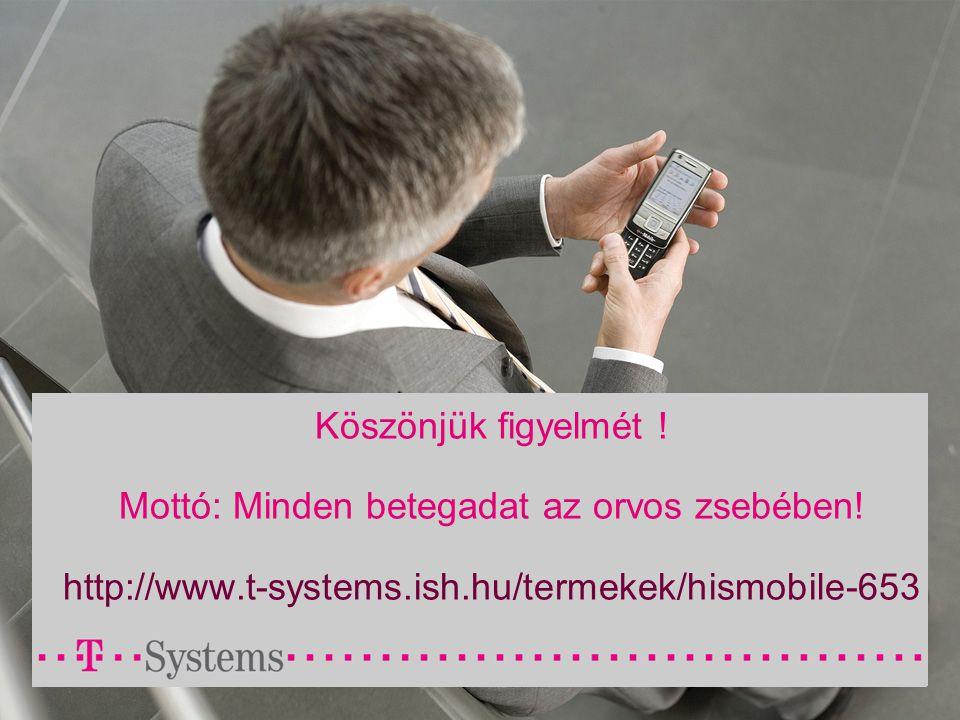Köszönjük figyelmét ! Mottó: Minden betegadat az orvos zsebében! http://www.t-systems.ish.hu/termekek/hismobile-653