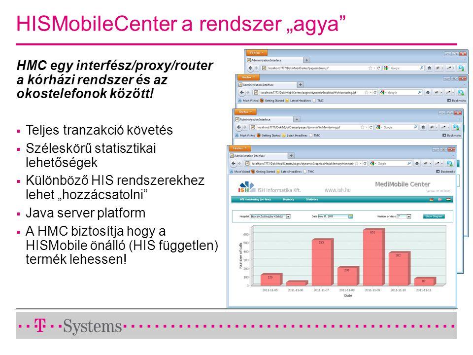 """HISMobileCenter a rendszer """"agya"""" HMC egy interfész/proxy/router a kórházi rendszer és az okostelefonok között!  Teljes tranzakció követés  Széleskö"""