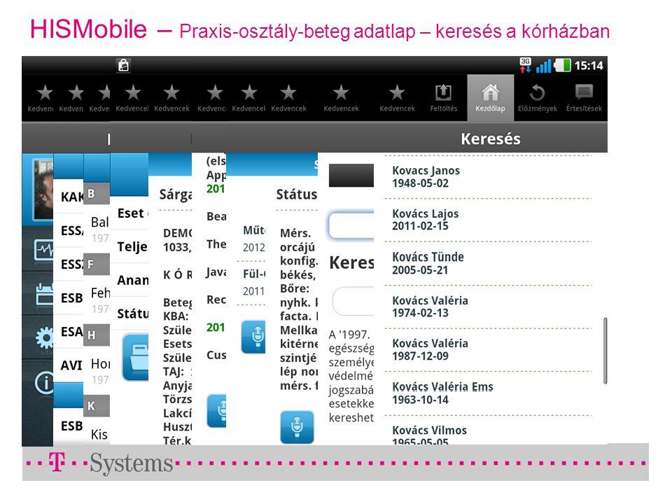HISMobile – Praxis-osztály-beteg adatlap – keresés a kórházban