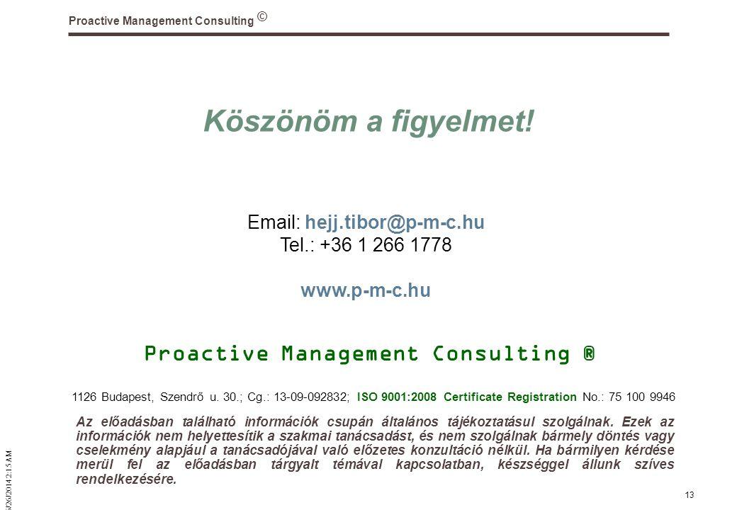 © 6/26/2014 2:16 AM Proactive Management Consulting 13 Köszönöm a figyelmet.