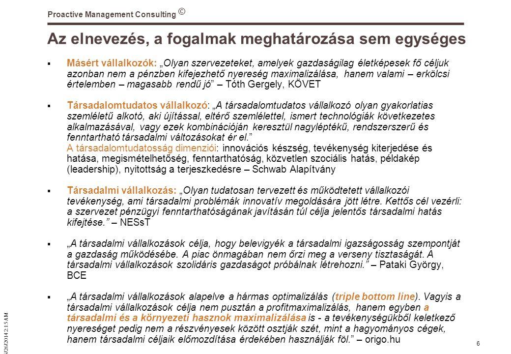 """© 6/26/2014 2:16 AM Proactive Management Consulting 6 Az elnevezés, a fogalmak meghatározása sem egységes  Másért vállalkozók: """"Olyan szervezeteket, amelyek gazdaságilag életképesek fő céljuk azonban nem a pénzben kifejezhető nyereség maximalizálása, hanem valami – erkölcsi értelemben – magasabb rendű jó – Tóth Gergely, KÖVET  Társadalomtudatos vállalkozó: """"A társadalomtudatos vállalkozó olyan gyakorlatias szemléletű alkotó, aki újítással, eltérő szemlélettel, ismert technológiák következetes alkalmazásával, vagy ezek kombinációján keresztül nagyléptékű, rendszerszerű és fenntartható társadalmi változásokat ér el. A társadalomtudatosság dimenziói: innovációs készség, tevékenység kiterjedése és hatása, megismételhetőség, fenntarthatóság, közvetlen szociális hatás, példakép (leadership), nyitottság a terjeszkedésre – Schwab Alapítvány  Társadalmi vállalkozás: """"Olyan tudatosan tervezett és működtetett vállalkozói tevékenység, ami társadalmi problémák innovatív megoldására jött létre."""
