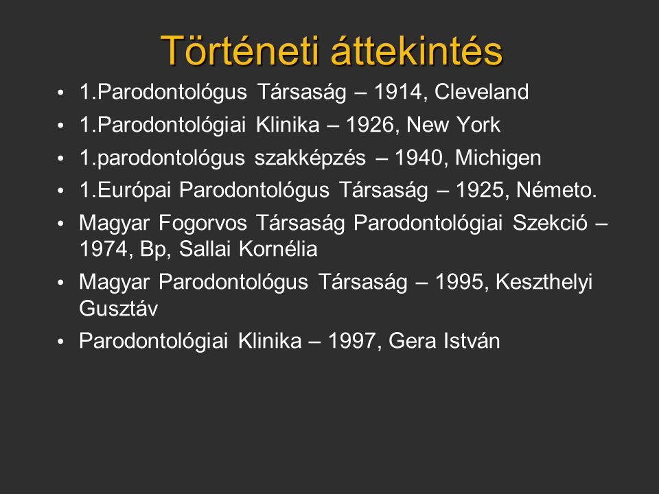 • 1.Parodontológus Társaság – 1914, Cleveland • 1.Parodontológiai Klinika – 1926, New York • 1.parodontológus szakképzés – 1940, Michigen • 1.Európai