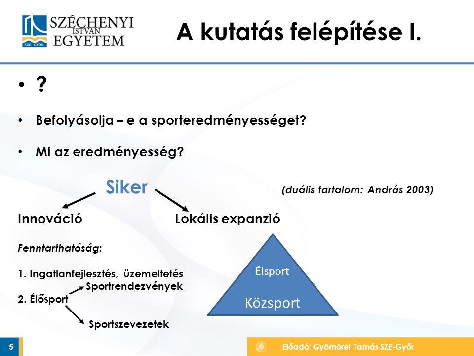 A kutatás felépítése I.•?•. • Befolyásolja – e a sporteredményességet.