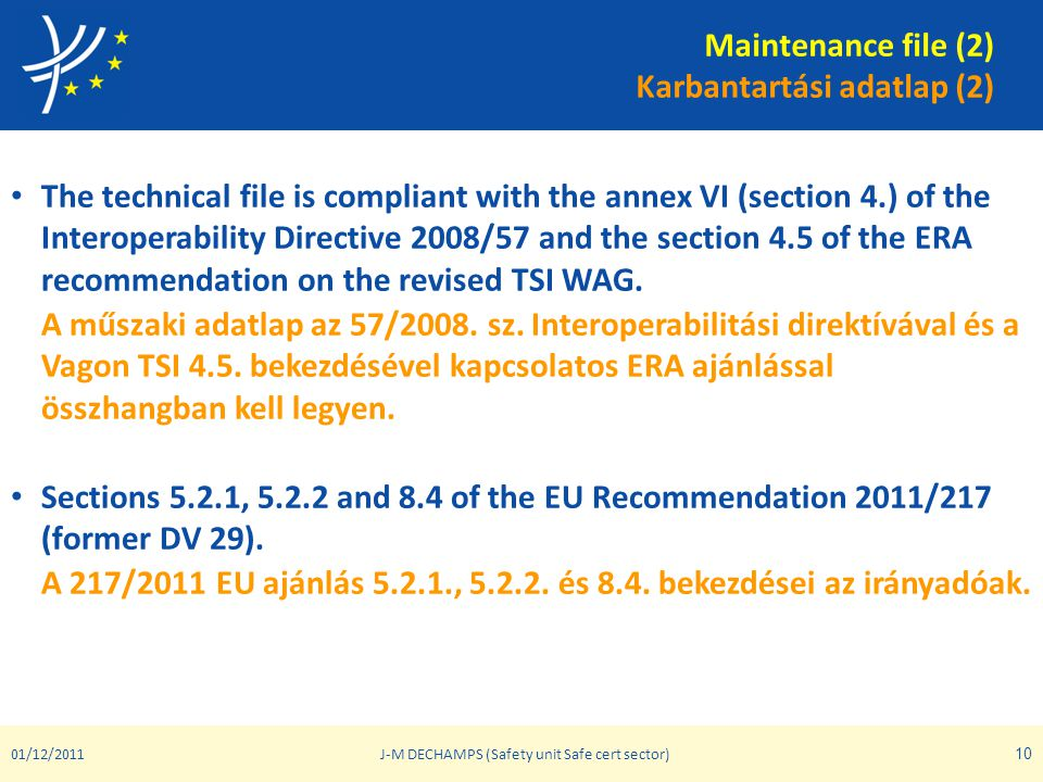 Maintenance file (2) Karbantartási adatlap (2) • The technical file is compliant with the annex VI (section 4.) of the Interoperability Directive 2008