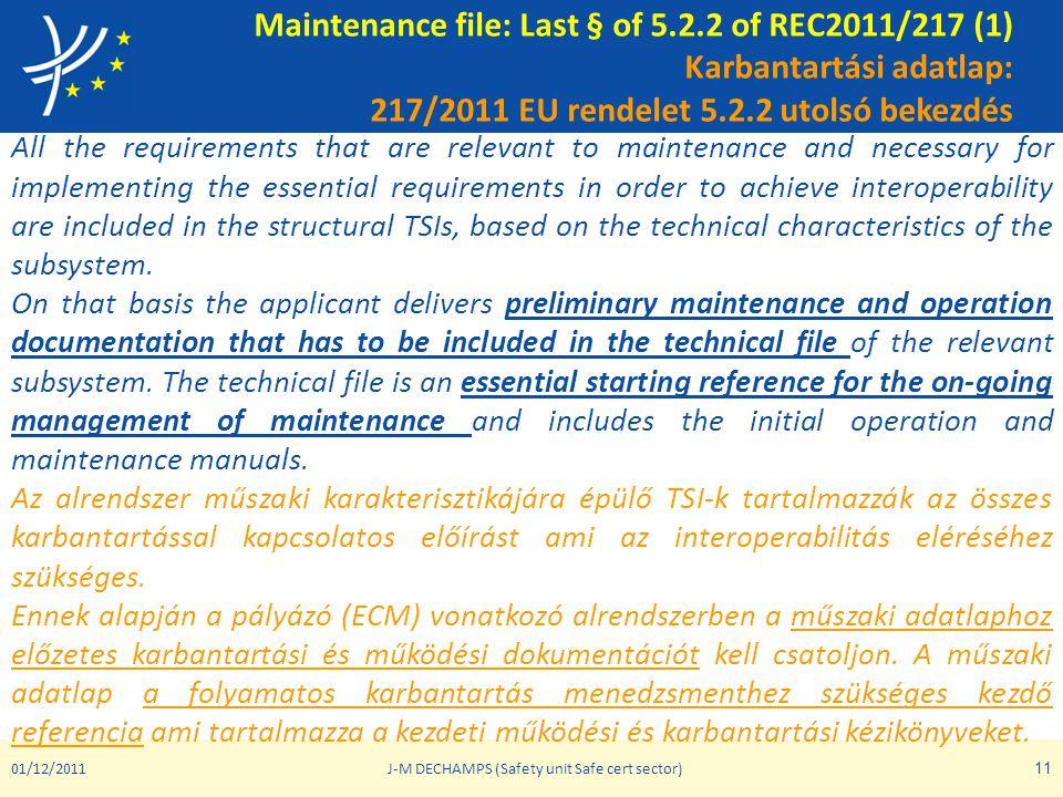 Maintenance file: Last § of 5.2.2 of REC2011/217 (1) Karbantartási adatlap: 217/2011 EU rendelet 5.2.2 utolsó bekezdés All the requirements that are r