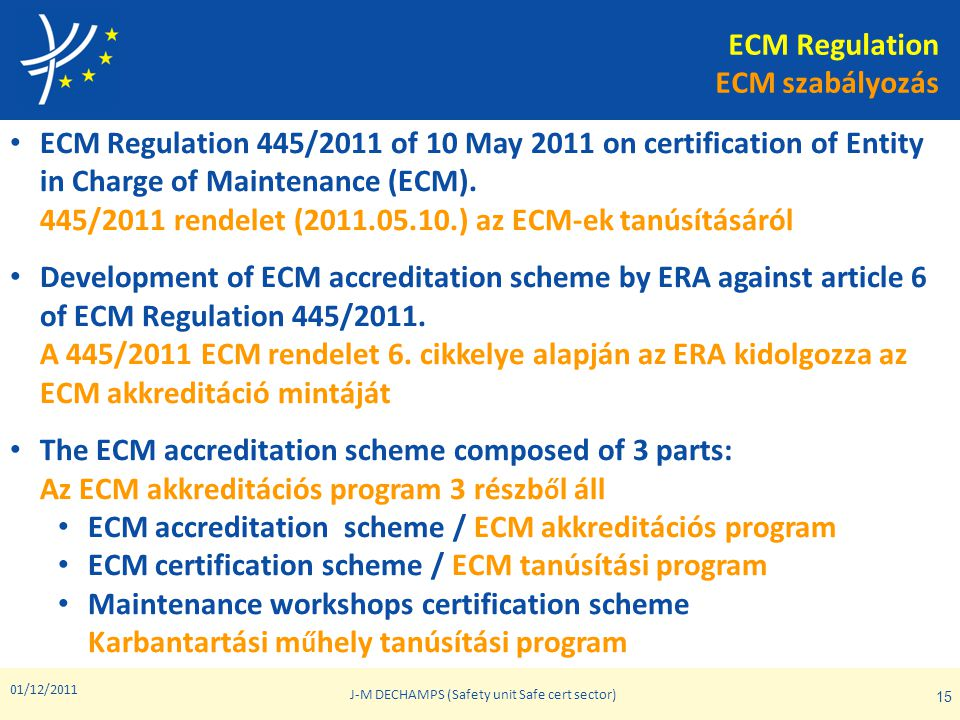 01/12/2011 J-M DECHAMPS (Safety unit Safe cert sector) 15 • ECM Regulation 445/2011 of 10 May 2011 on certification of Entity in Charge of Maintenance