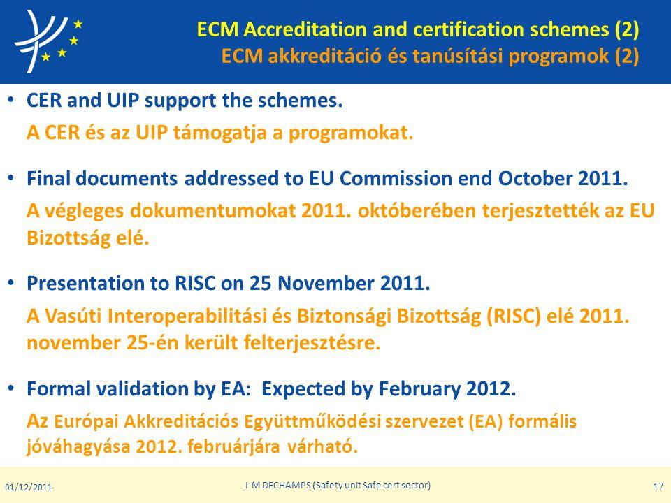 ECM Accreditation and certification schemes (2) ECM akkreditáció és tanúsítási programok (2) • CER and UIP support the schemes. A CER és az UIP támoga