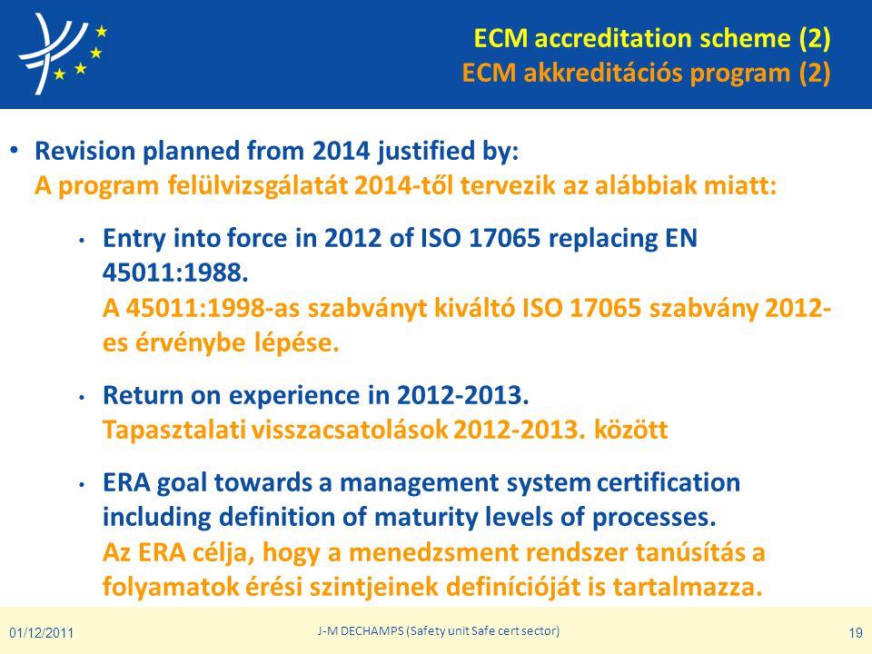 ECM accreditation scheme (2) ECM akkreditációs program (2) • Revision planned from 2014 justified by: A program felülvizsgálatát 2014-től tervezik az