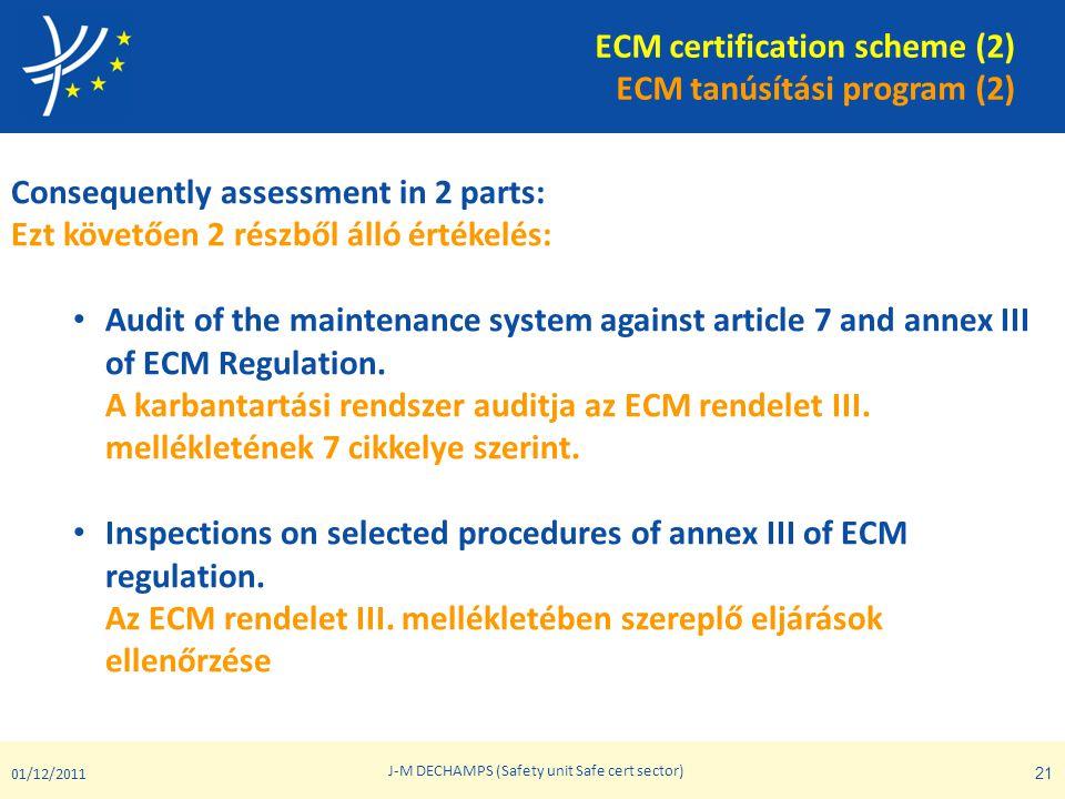 ECM certification scheme (2) ECM tanúsítási program (2) Consequently assessment in 2 parts: Ezt követően 2 részből álló értékelés: • Audit of the main