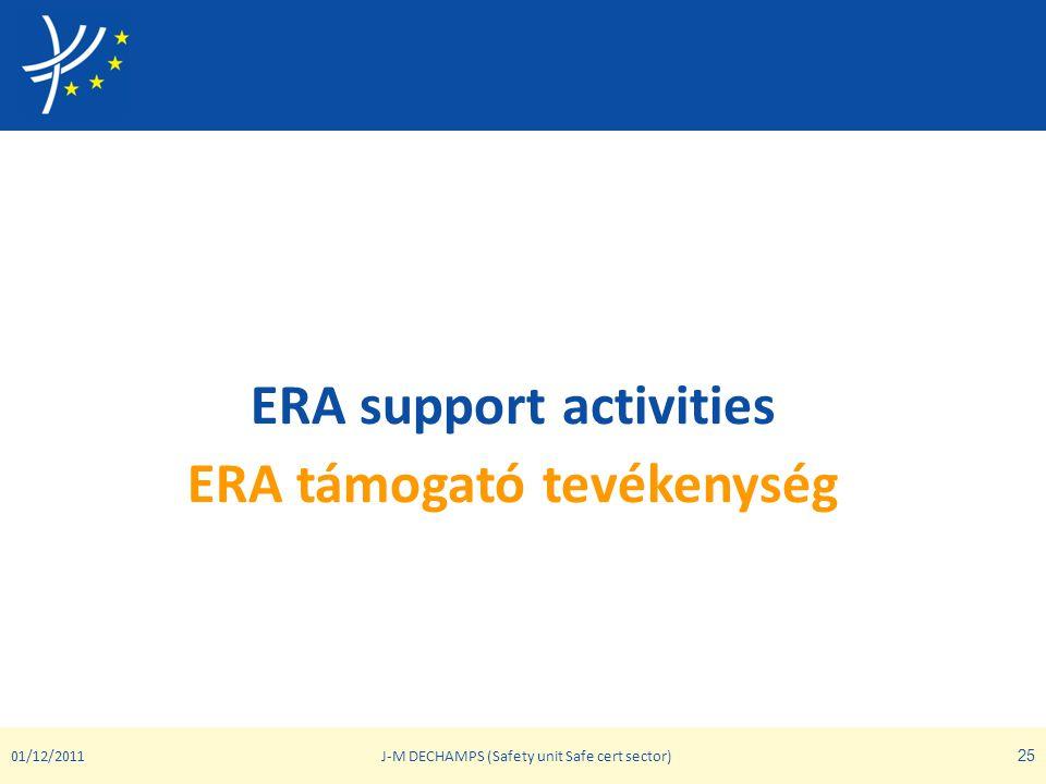 ERA support activities ERA támogató tevékenység 01/12/2011J-M DECHAMPS (Safety unit Safe cert sector) 25