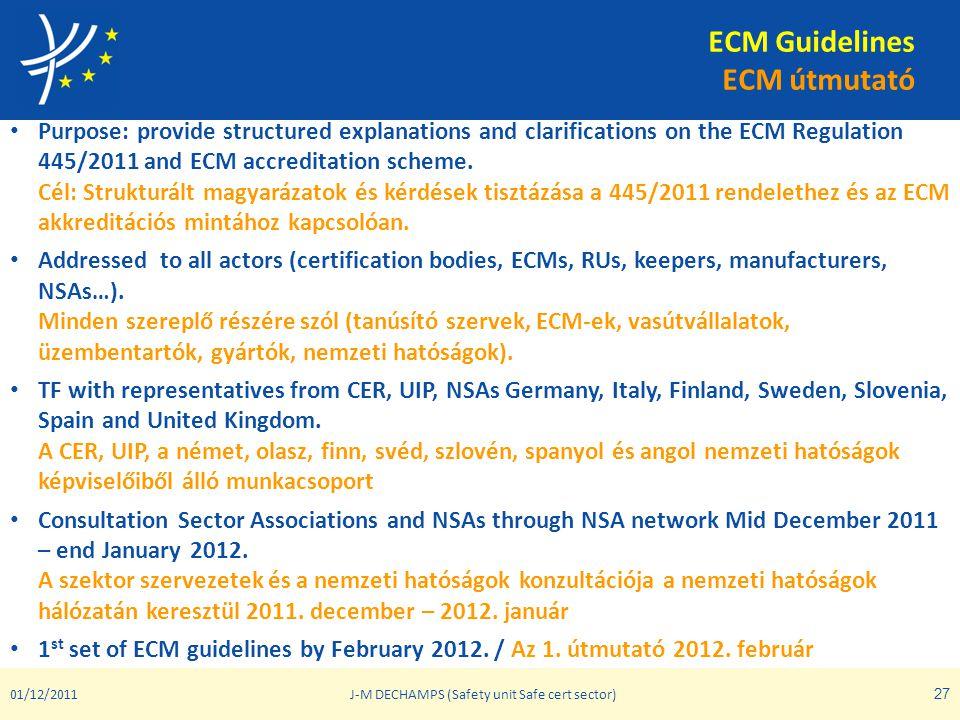 ECM Guidelines ECM útmutató • Purpose: provide structured explanations and clarifications on the ECM Regulation 445/2011 and ECM accreditation scheme.