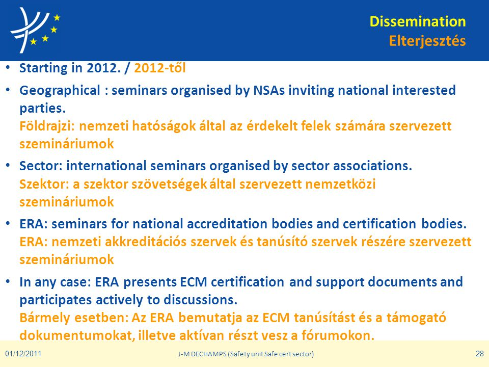Dissemination Elterjesztés • Starting in 2012. / 2012-től • Geographical : seminars organised by NSAs inviting national interested parties. Földrajzi:
