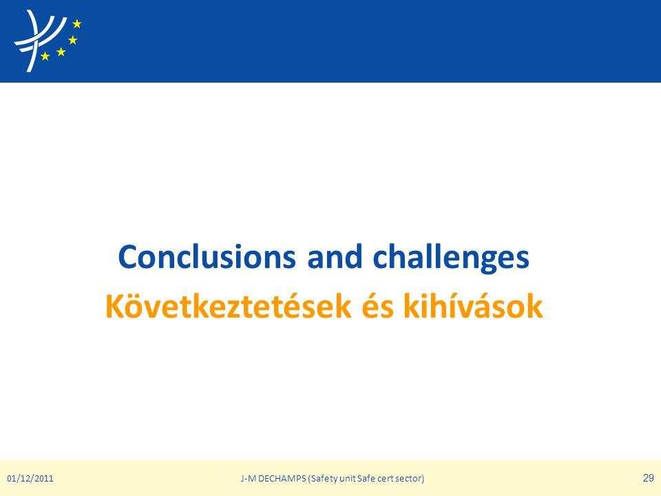 Conclusions and challenges Következtetések és kihívások 01/12/2011J-M DECHAMPS (Safety unit Safe cert sector) 29