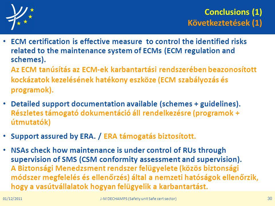 Conclusions (1) Következtetések (1) • ECM certification is effective measure to control the identified risks related to the maintenance system of ECMs